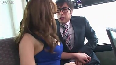 Sexy Japanese girl dominantly fucks submissive man on bus