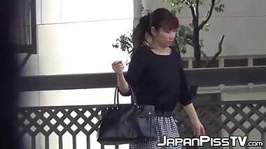 Urban Japanese hotties filmed peeing with hidden cam