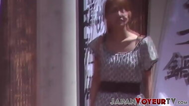 Japanese babe secretly filmed peeing in public