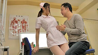 Japanese nurse, Anna Kimijima sucks dick, uncensored